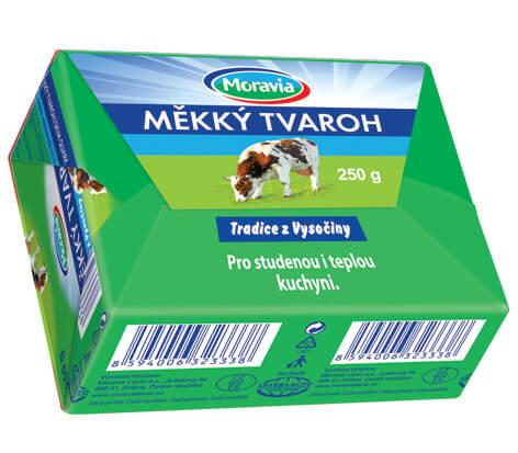 Měkký tvaroh Moravia zelené balení v kostce 250 g