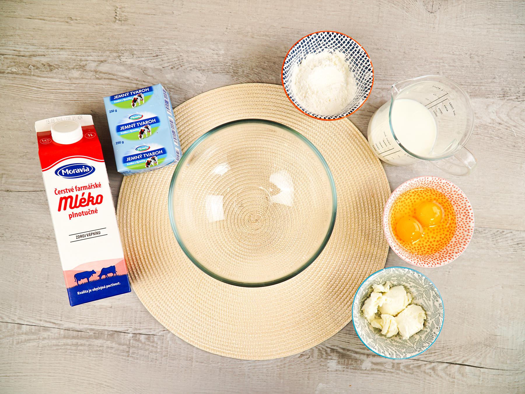 Ingredience na tvarohové palačinky bez mouky Moravia