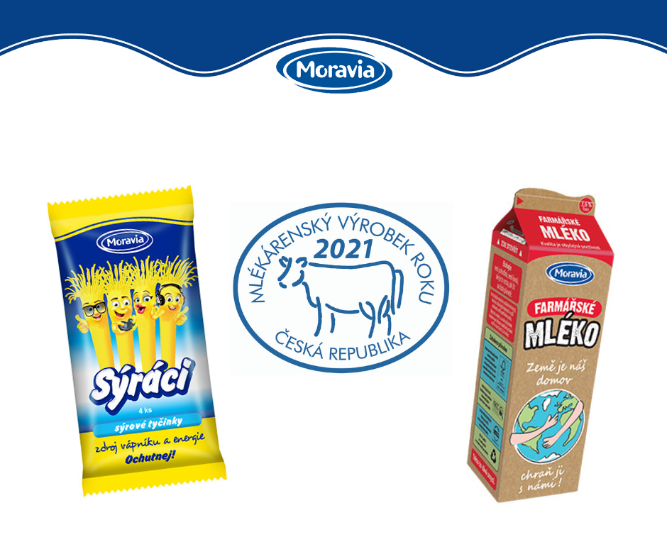 Farmářské mléko vEkologickém obalu aSýráci jsou Mlékárenskými výrobky roku 2021